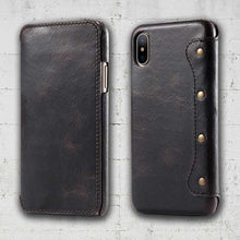 Black leather folio iPhone X cover