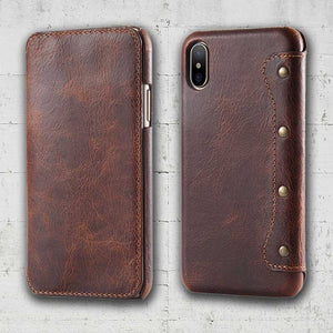 Leather flip iPhone XS max case