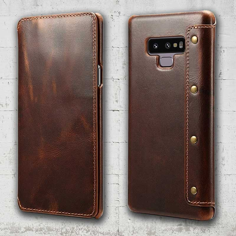 sports shoes 0393c 9ce9a Folio Leather case for Galaxy Note 9