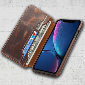 Tanned leather case for iPhone XR