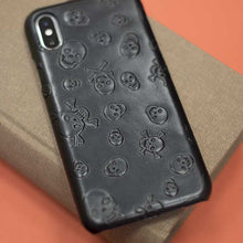 Load image into Gallery viewer, Real leather Skull case for iPhone XR