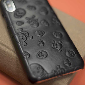 Black skulll leather cover for iphone xs max