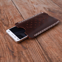 Load image into Gallery viewer, Leather Phone Sleeve Hand Stitched