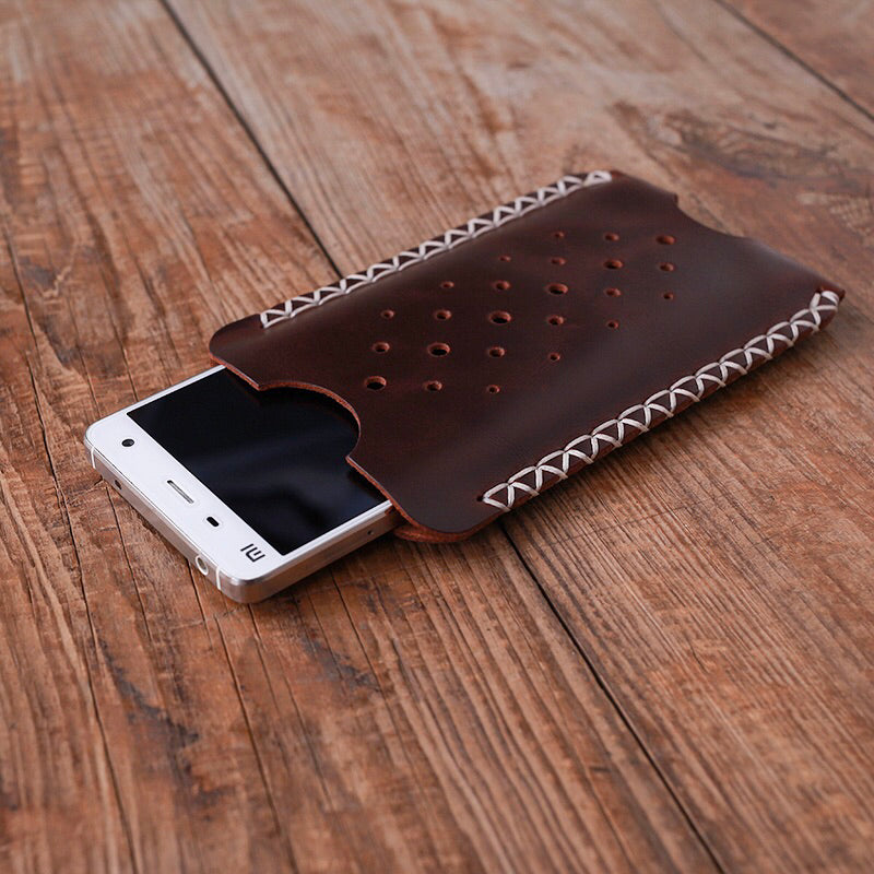 Leather Phone Sleeve Hand Stitched