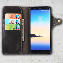 Load image into Gallery viewer, Black leather Galaxy Note 8 wallet