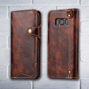 Brown Leather wallet phone case