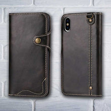 Load image into Gallery viewer, Black Leather wallet phone case