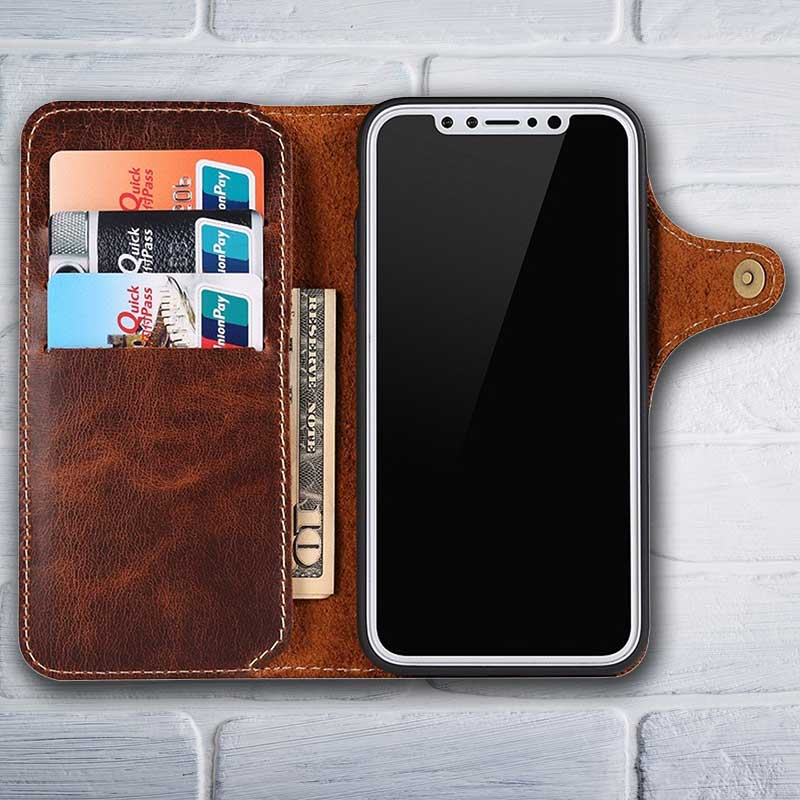 half off fcb35 a4100 Leather Wallet case for iPhone X