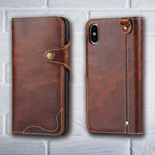 Load image into Gallery viewer, iPhone X Leather wallet phone case