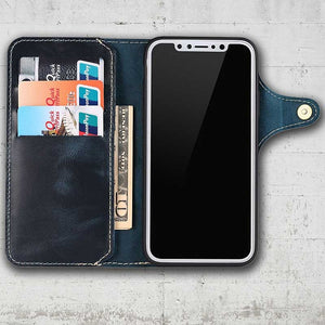 navy cell phone wallet