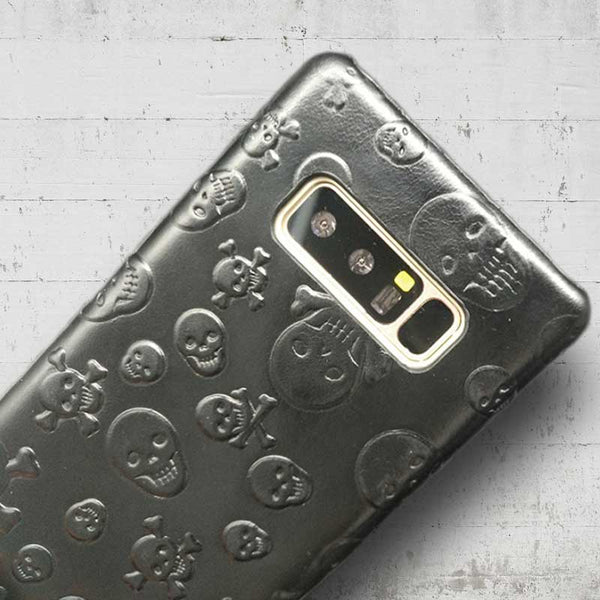 Note 8 crossbones case made from leather