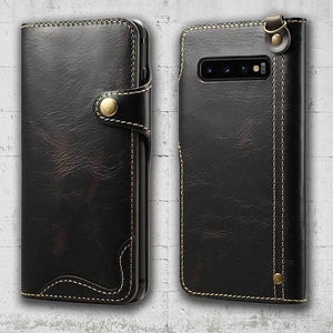 samsung leather case s10 plus in black with magnetic closure
