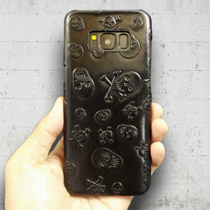 This is an image of Samsung Galaxy S8 Real Leather Skull Case