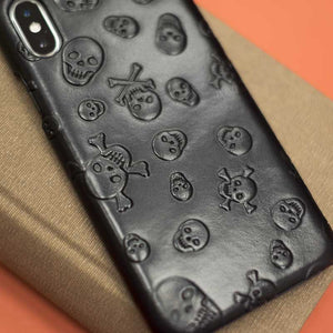 Real leather Skull case for iPhone XS