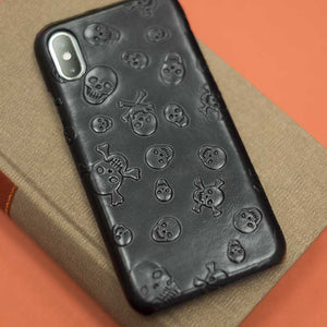 iPhone XS MAX leather Skull case