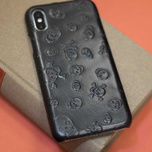 Skull and bones case from Natural leather for iPhone XS Max