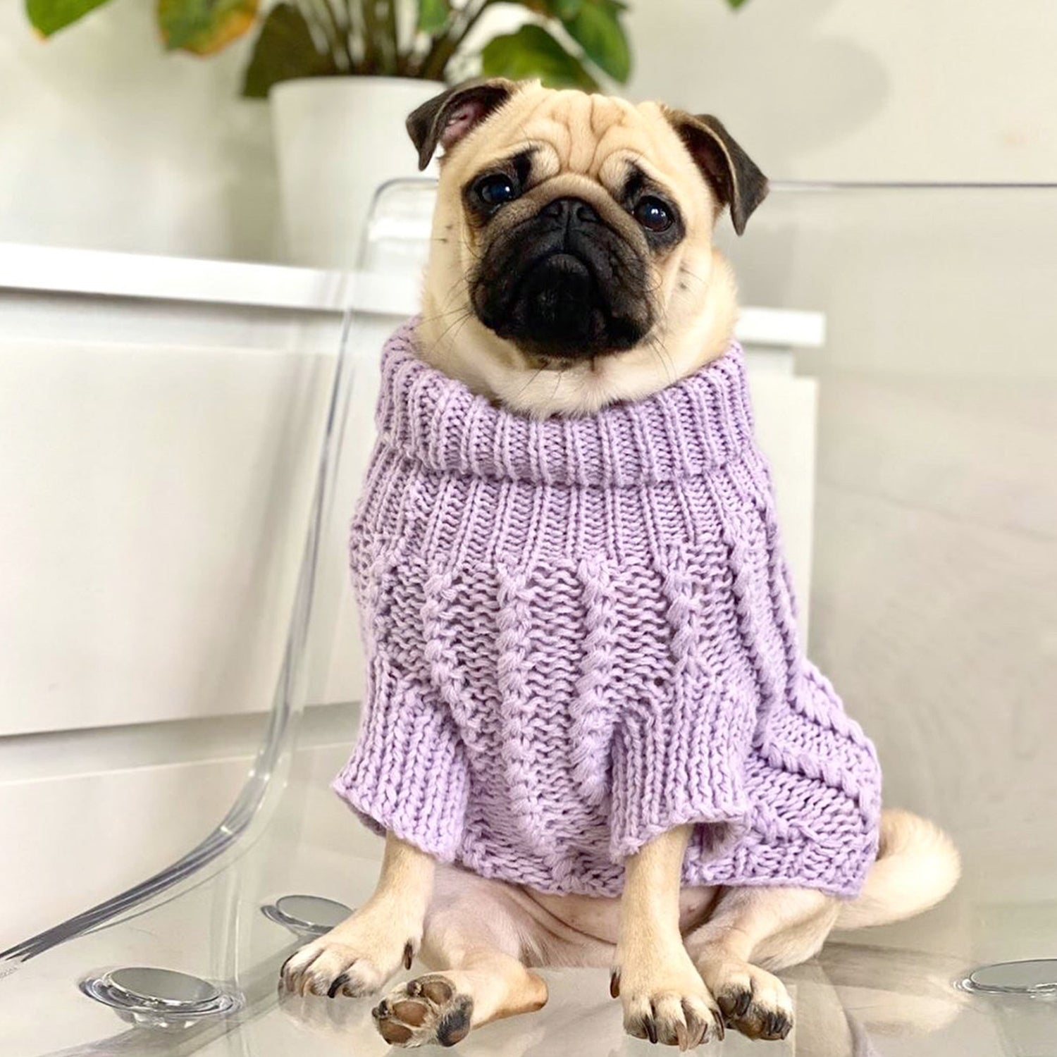 Cosy Knitted Jumper: Lilac