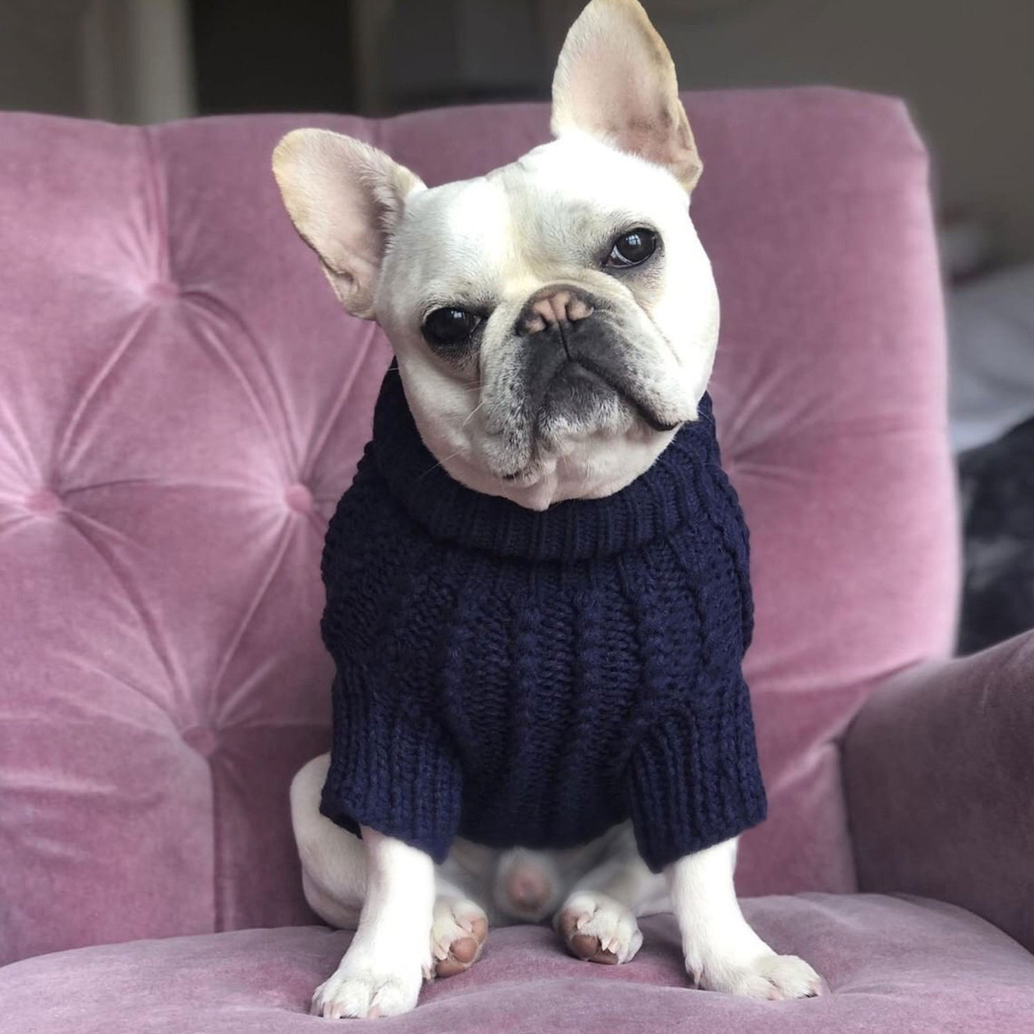 Cosy Knitted Jumper: Navy Blue