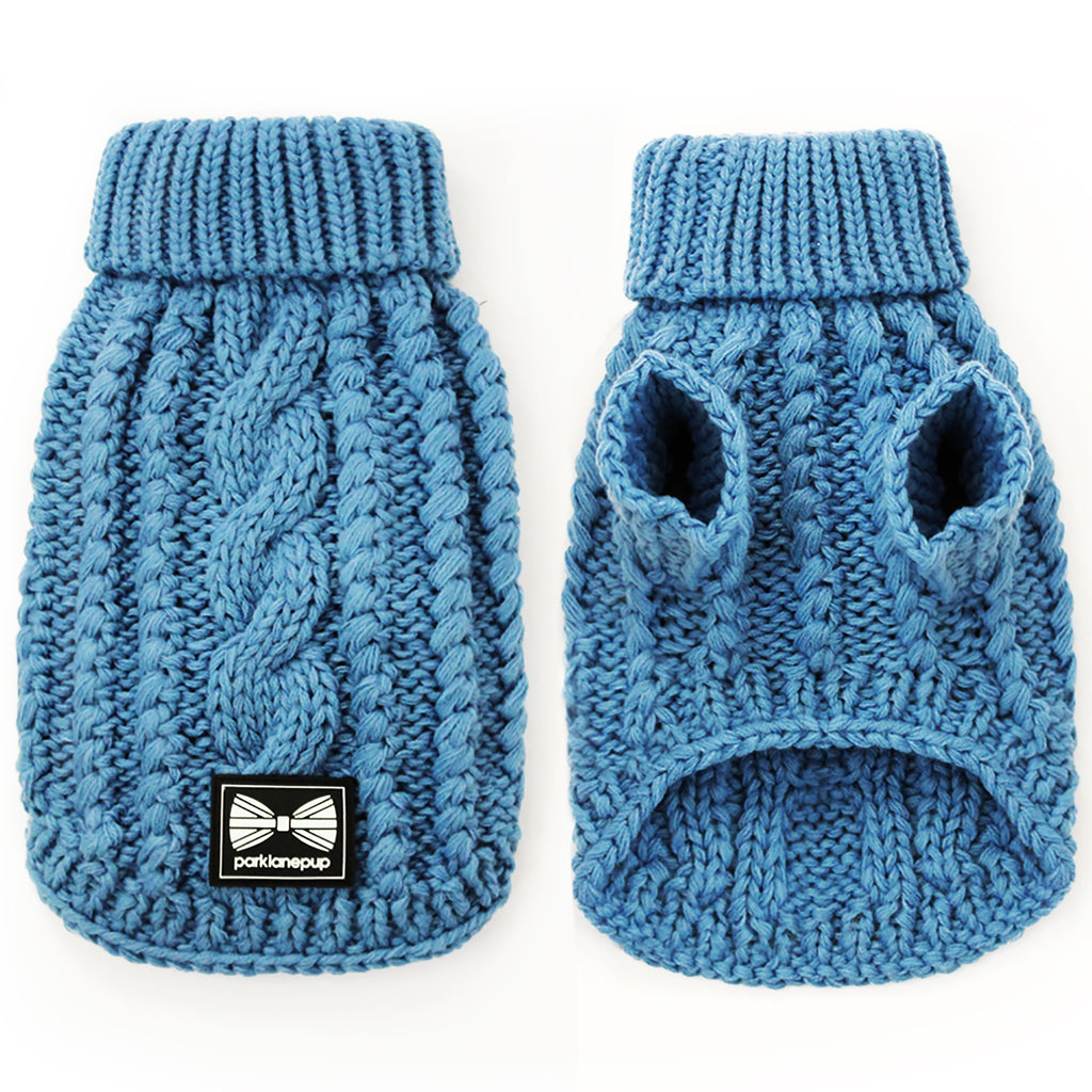 Blue knitted jumper for dogs