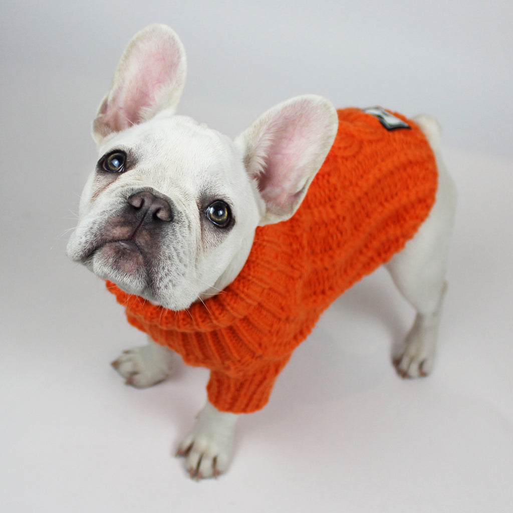 Cosy Knitted Jumper: Pumpkin Orange
