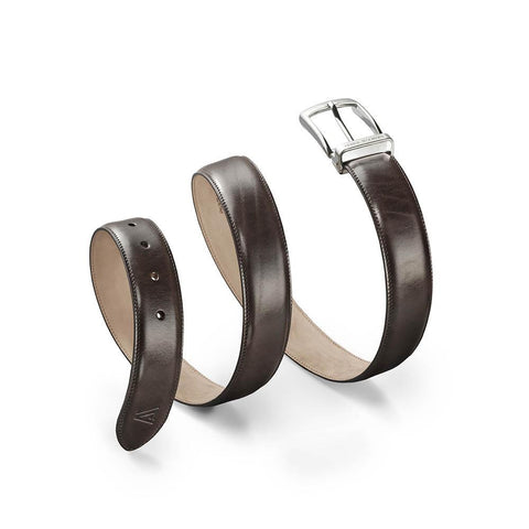 Calfskin Belt Brown-Silver