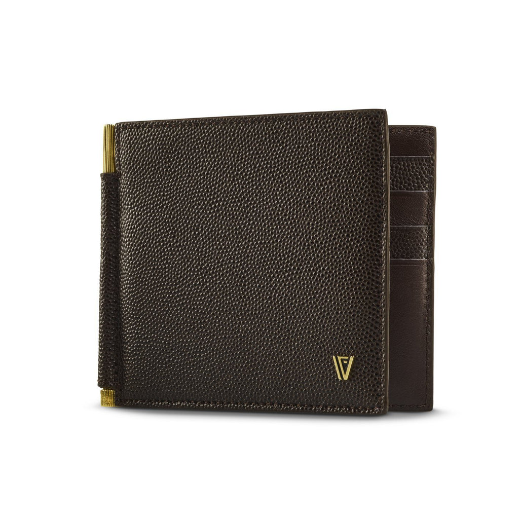 Caviar Moneyclip Wallet Brown-Gold