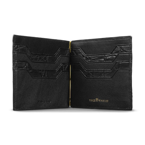 Alligator Moneyclip Wallet Black Gold