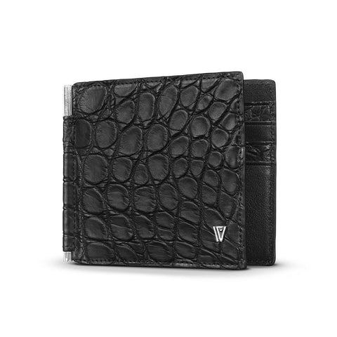 Alligator Moneyclip Wallet Black Silver