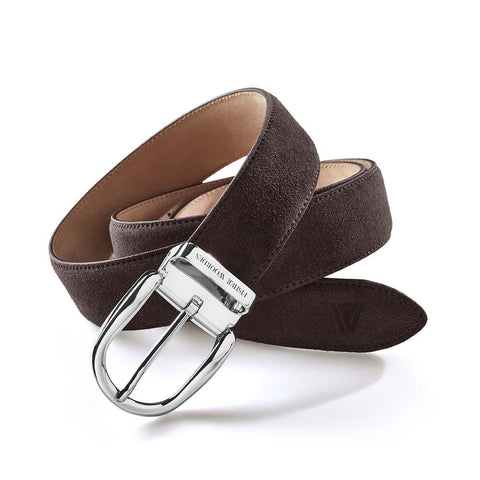 Suede Belt Umber Brown Silver