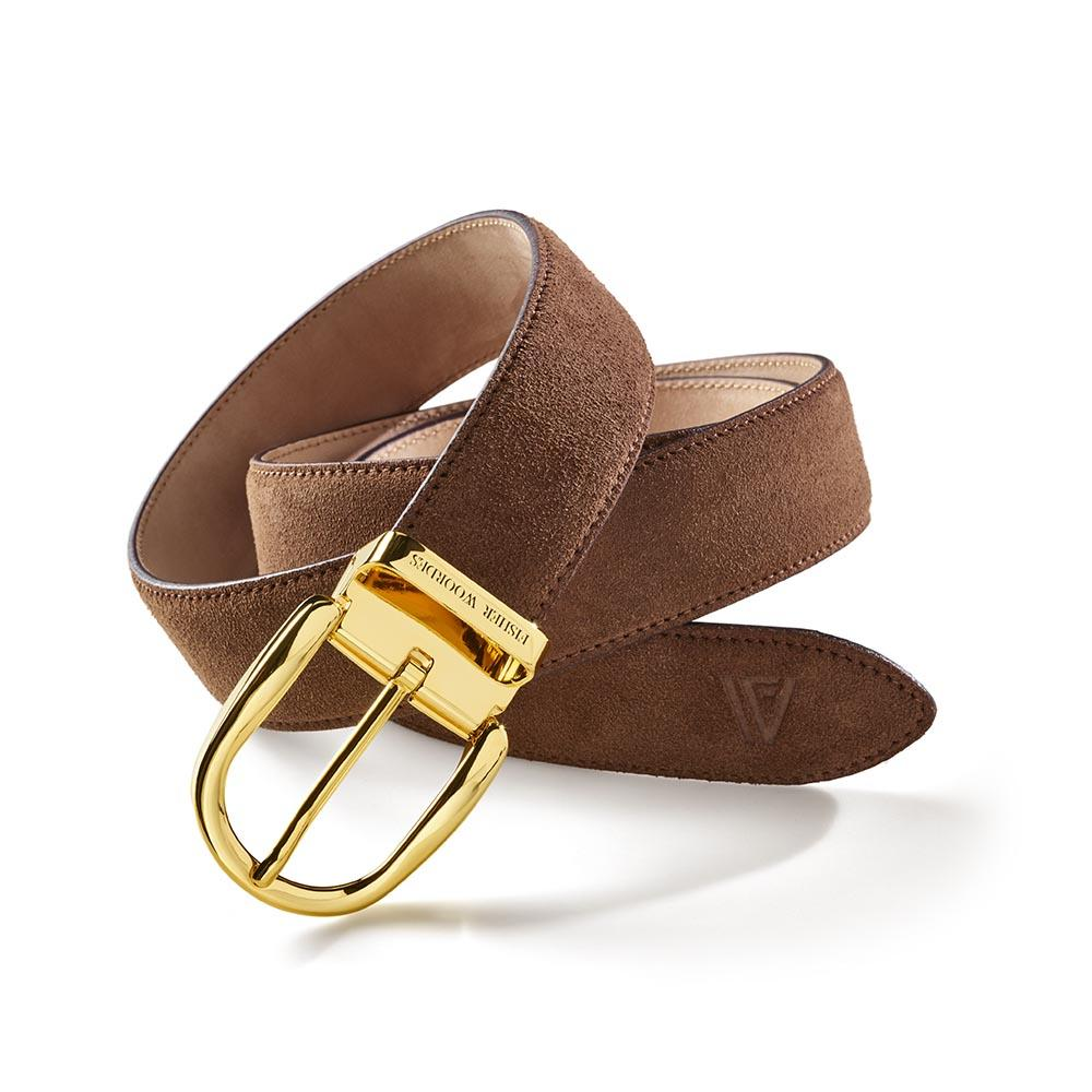 Suede Belt Camel Gold