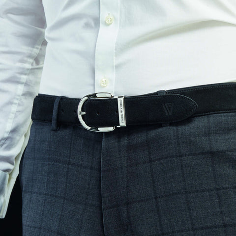 Suede Belt Black Silver