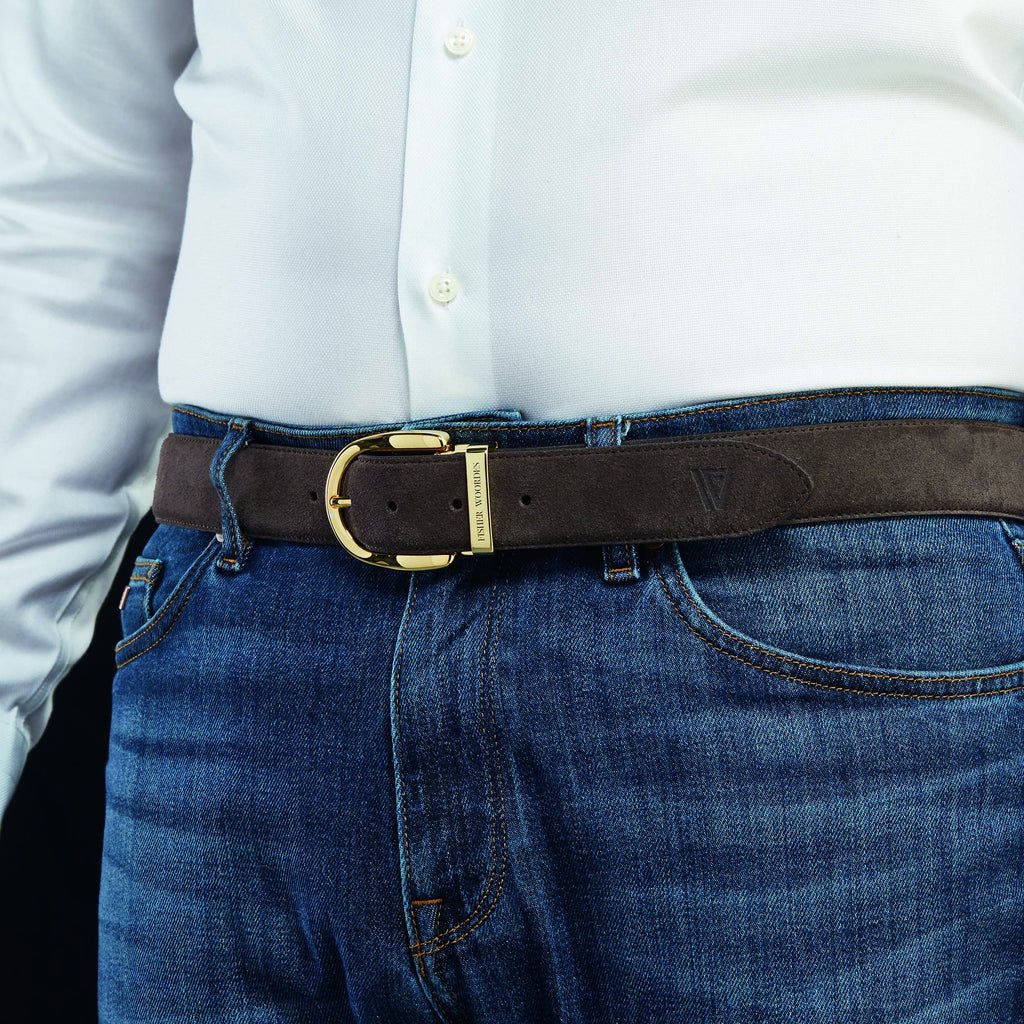 Suede Belt Umber Brown Gold