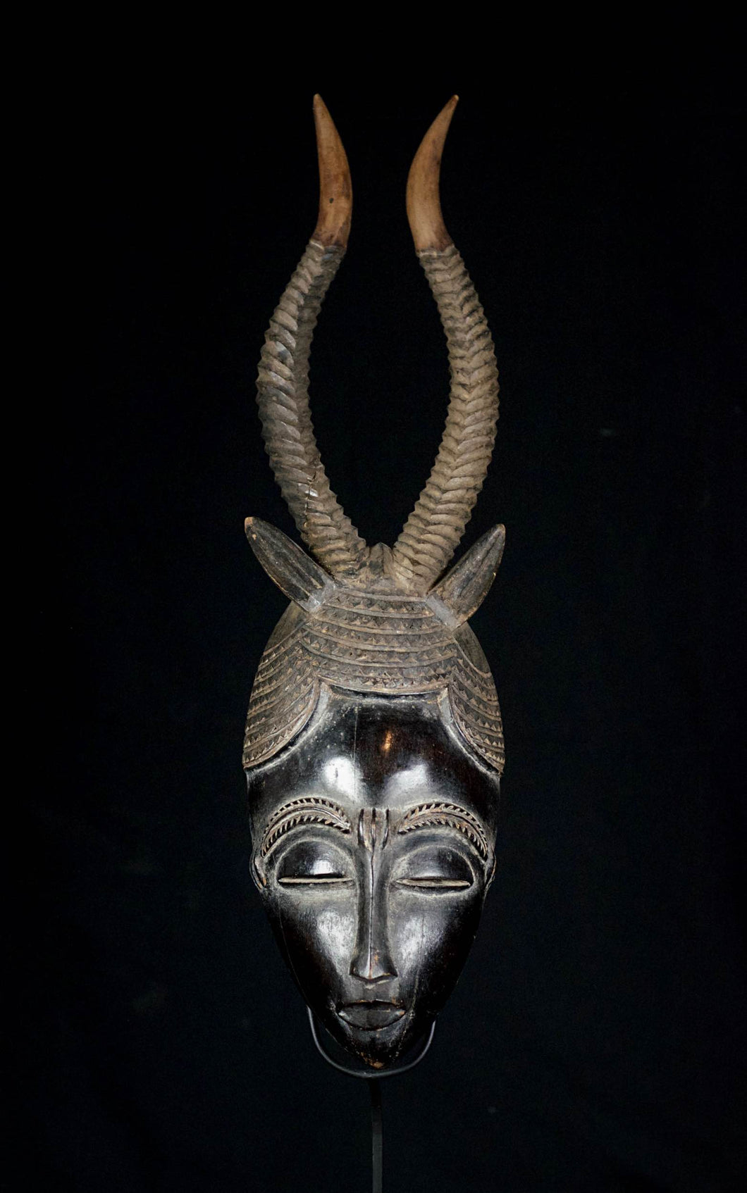JE mask from the GURO with Antilope Horns - Ivory Coast