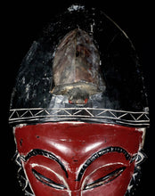 "Red Secret Society ""JE"" mask from the GURO with Turtle on top - Ivory Coast"