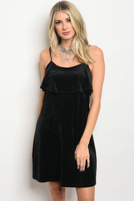 Black Velvet Ribbed Dress