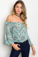 Printed Off Shoulder with Bell Sleeve Top