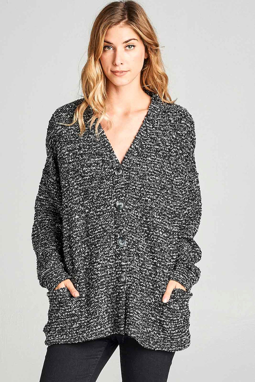 Black/White Marled Cardigan