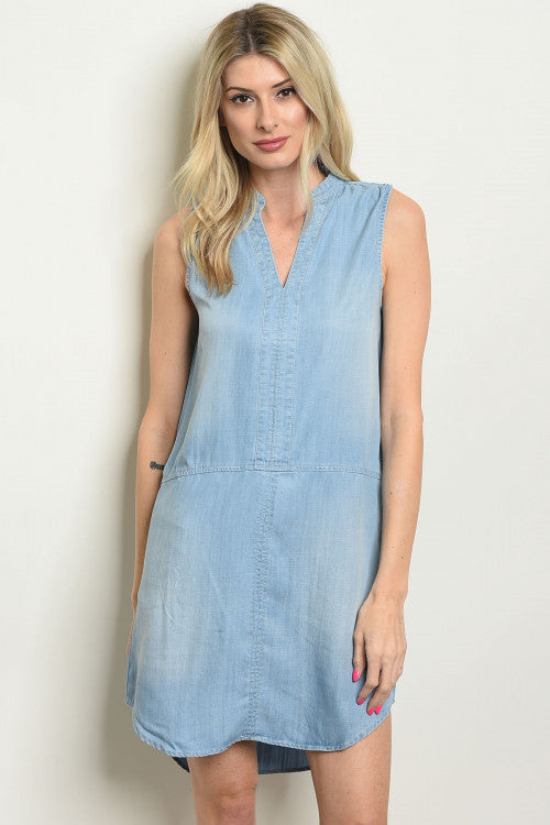 Split-Neck Shift Dress in Tencel