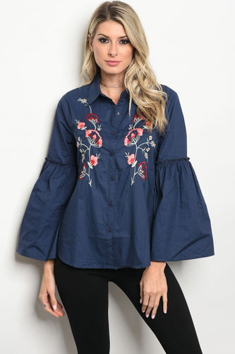 Embroidered Denim Bell Sleeve Top