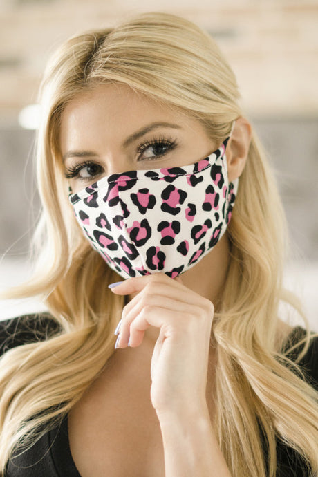 Pink Leopard Print Reusable Face Mask