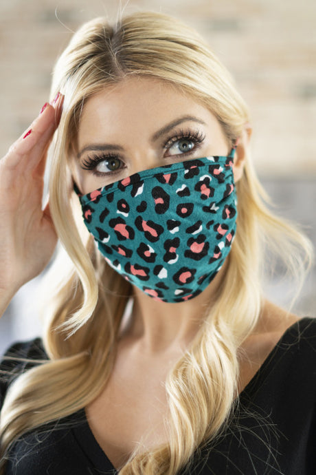 Teal Leopard Print Reusable Face Mask