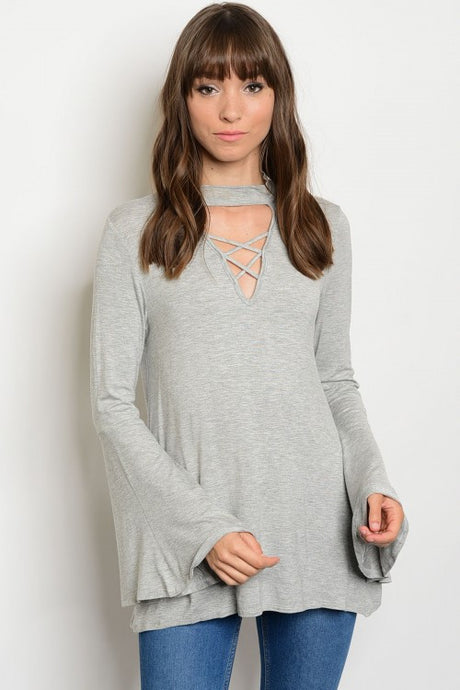Lace Up Bell Sleeve Tunic