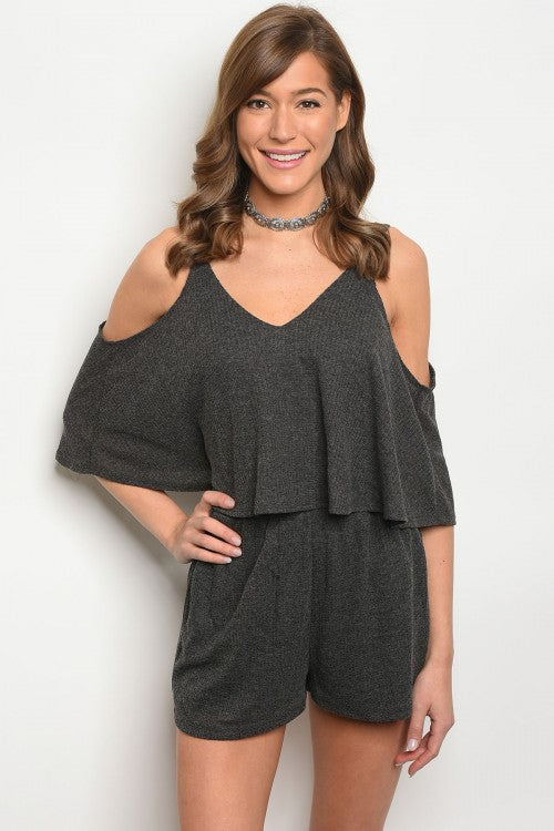 Charcoal Cold Shoulder Romper