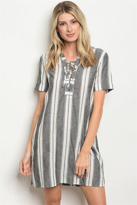 Grey/White Striped Dress