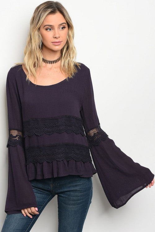 Bell Sleeve Top w/ Lace Detail