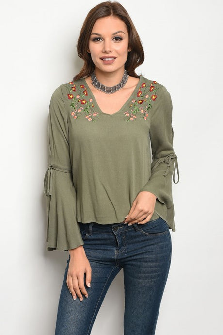 Olive Embroidered Top w/ Bell Sleeves
