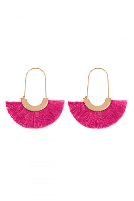 Hot Pink Fan Fringe Earrings