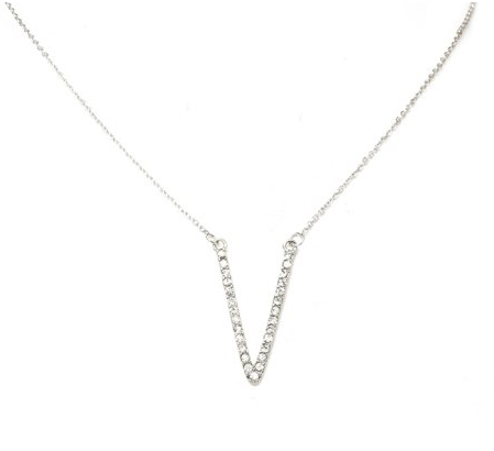 Silver V-Shape Pendant Necklace