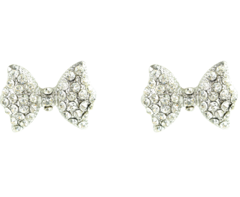 Silver Studded Bow Earrings