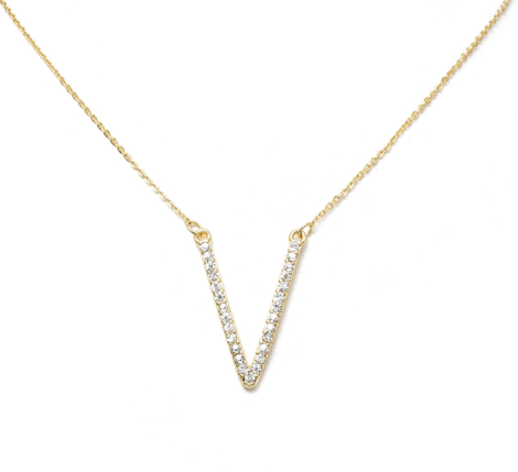 Gold V-Shape Pendant Necklace